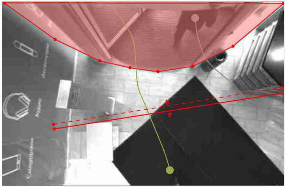 "Set an ""Exclusion Area"" for the EPC-3D Stereo Camera People Counter (red highlighted area)"