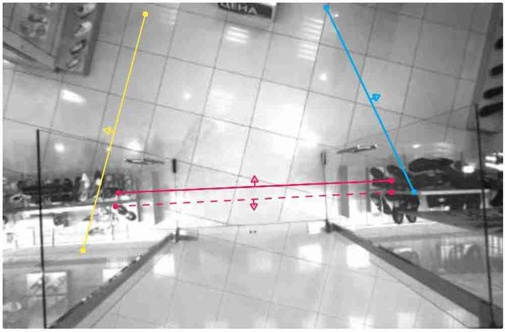 "Setting Lines to Count ""Left"" (yellow) and ""Right"" (blue) for the EPC-3D Stereo Camera People Counter"